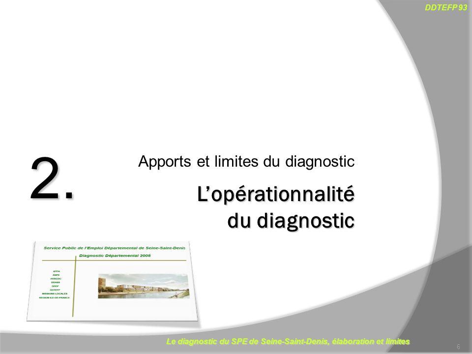 Le diagnostic du SPE de Seine-Saint-Denis, élaboration et limites DDTEFP 93 17 La production de notes complémentaires Nouveaux documents (4 pages) > Outils de repères Outils de suivi du marché du travail selon lâge, la nationalité Suivi de la demande et de loffre