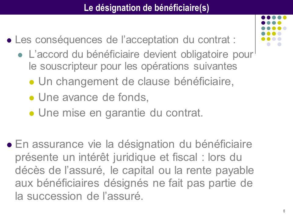 6 Les conséquences de lacceptation du contrat : Laccord du bénéficiaire devient obligatoire pour le souscripteur pour les opérations suivantes Un chan