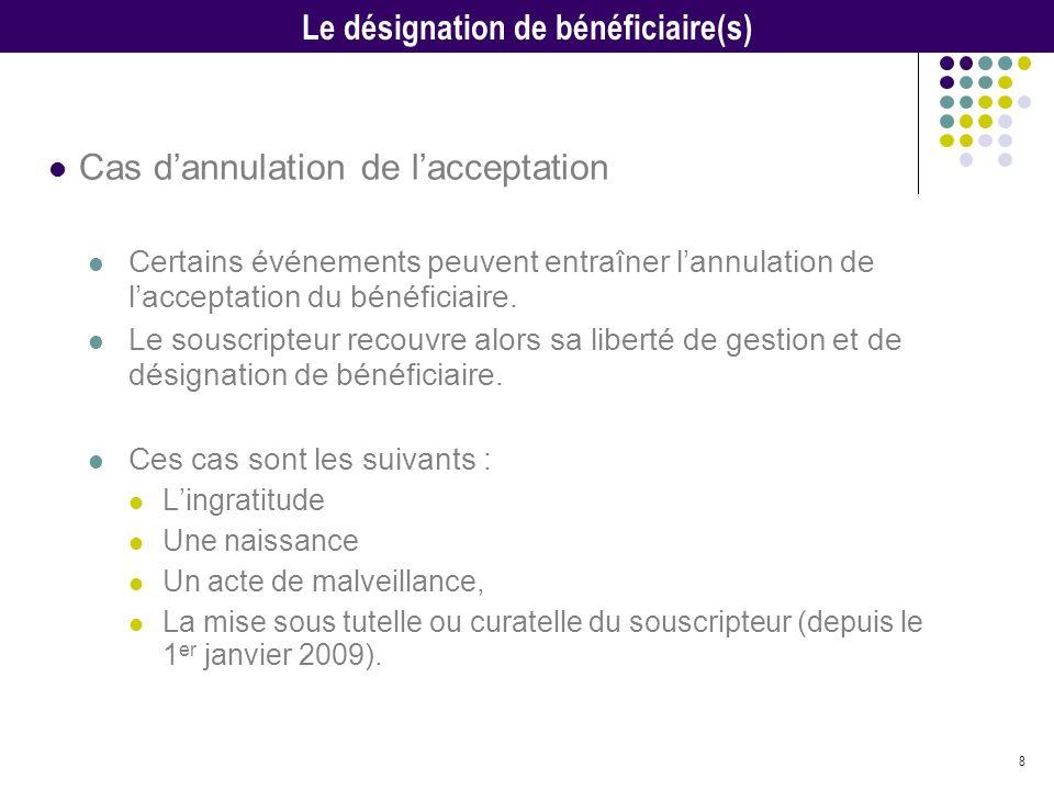 8 Cas dannulation de lacceptation Certains événements peuvent entraîner lannulation de lacceptation du bénéficiaire. Le souscripteur recouvre alors sa