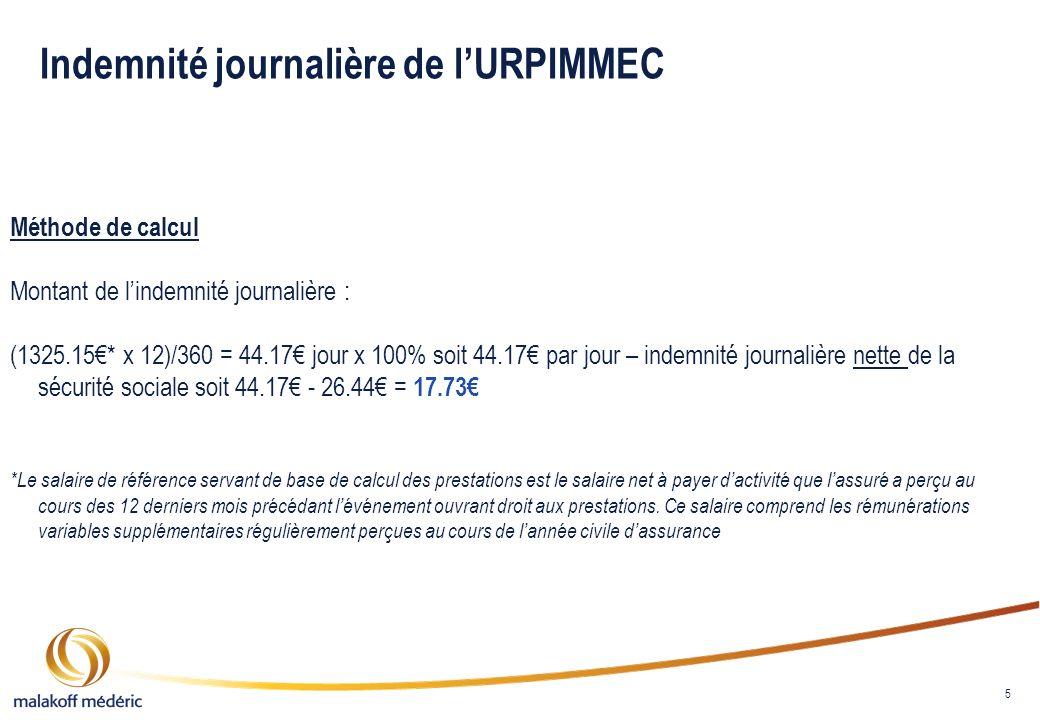 5 Indemnité journalière de lURPIMMEC Méthode de calcul Montant de lindemnité journalière : (1325.15* x 12)/360 = 44.17 jour x 100% soit 44.17 par jour