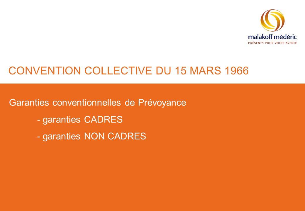 CONVENTION COLLECTIVE DU 15 MARS 1966 Garanties conventionnelles de Prévoyance - garanties CADRES - garanties NON CADRES