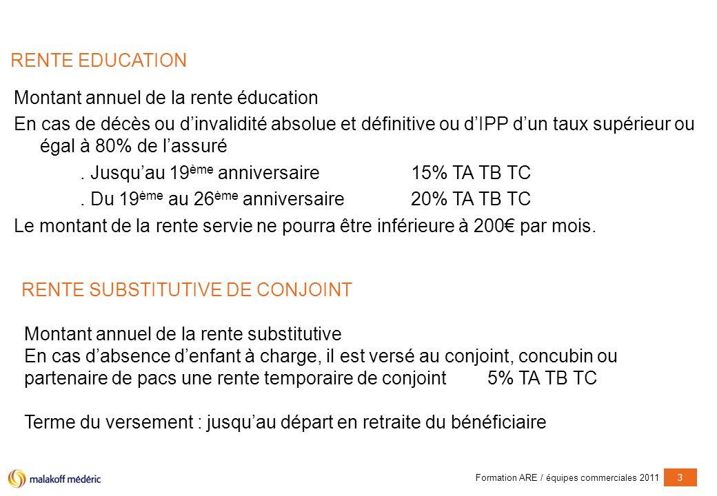Formation ARE / équipes commerciales 20113 RENTE EDUCATION Montant annuel de la rente éducation En cas de décès ou dinvalidité absolue et définitive o