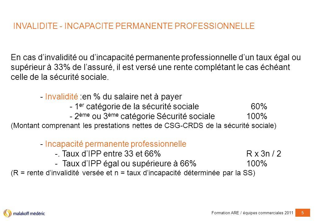 Formation ARE / équipes commerciales 20115 INVALIDITE - INCAPACITE PERMANENTE PROFESSIONNELLE En cas dinvalidité ou dincapacité permanente professionn