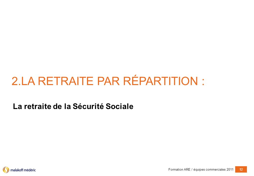 Formation ARE / équipes commerciales 201112 2.LA RETRAITE PAR RÉPARTITION : La retraite de la Sécurité Sociale