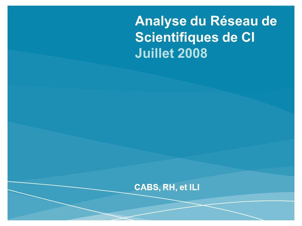 Analyse du Réseau de Scientifiques de CI Juillet 2008 CABS, RH, et ILI