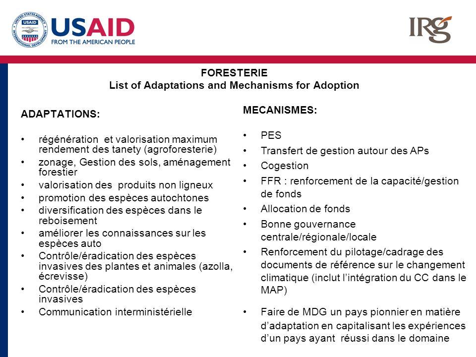 FORESTERIE List of Adaptations and Mechanisms for Adoption ADAPTATIONS: régénération et valorisation maximum rendement des tanety (agroforesterie) zon