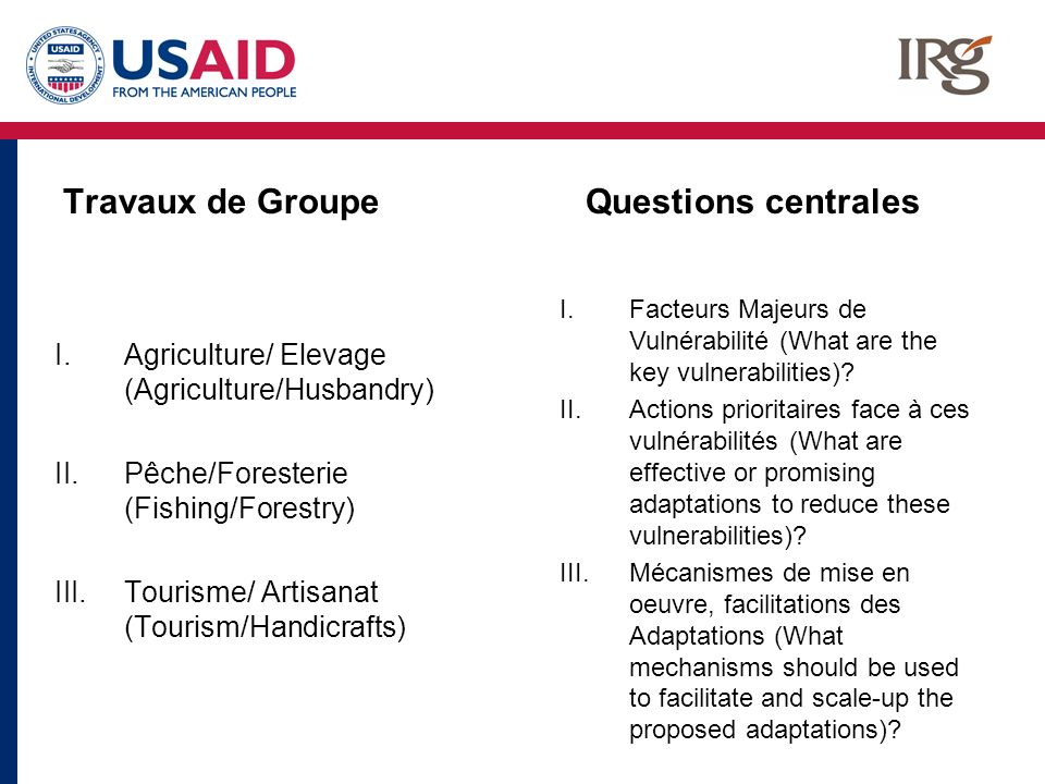 Travaux de Groupe I.Agriculture/ Elevage (Agriculture/Husbandry) II.Pêche/Foresterie (Fishing/Forestry) III.Tourisme/ Artisanat (Tourism/Handicrafts) Questions centrales I.Facteurs Majeurs de Vulnérabilité (What are the key vulnerabilities).