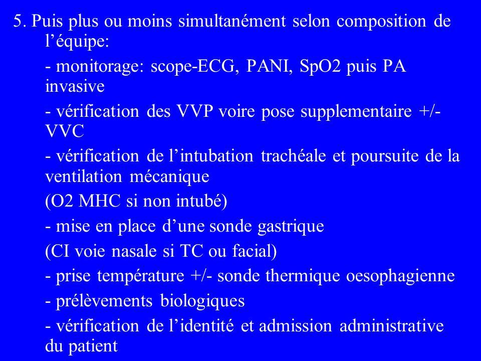 5. Puis plus ou moins simultanément selon composition de léquipe: - monitorage: scope-ECG, PANI, SpO2 puis PA invasive - vérification des VVP voire po