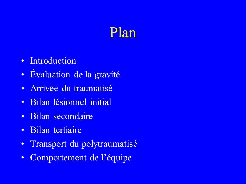 Plan Introduction Évaluation de la gravité Arrivée du traumatisé Bilan lésionnel initial Bilan secondaire Bilan tertiaire Transport du polytraumatisé Comportement de léquipe