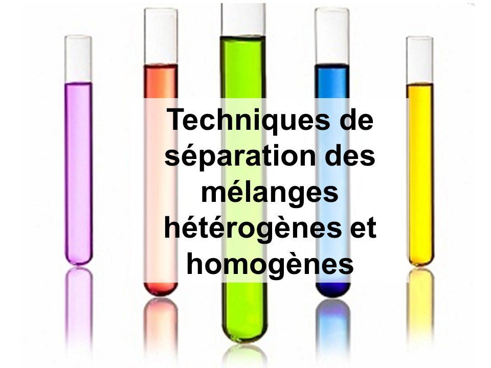 Techniques de séparation des mélanges hétérogènes et homogènes