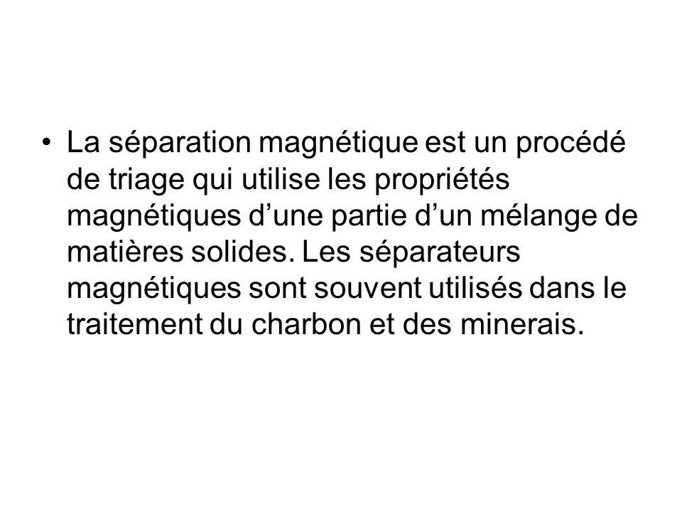 La séparation magnétique est un procédé de triage qui utilise les propriétés magnétiques dune partie dun mélange de matières solides. Les séparateurs