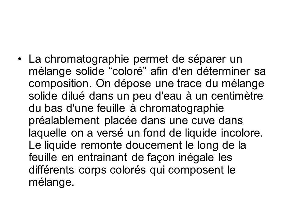 La chromatographie permet de séparer un mélange solide coloré afin d'en déterminer sa composition. On dépose une trace du mélange solide dilué dans un