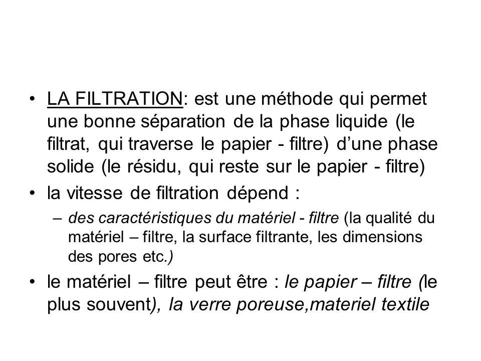LA FILTRATION: est une méthode qui permet une bonne séparation de la phase liquide (le filtrat, qui traverse le papier - filtre) dune phase solide (le