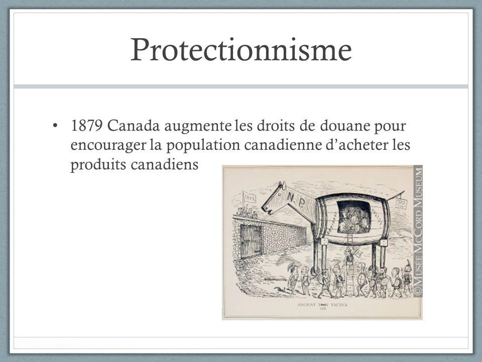 Protectionnisme 1879 Canada augmente les droits de douane pour encourager la population canadienne dacheter les produits canadiens