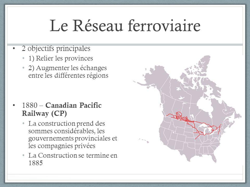 Le Réseau ferroviaire 2 objectifs principales 1) Relier les provinces 2) Augmenter les échanges entre les différentes régions 1880 – Canadian Pacific