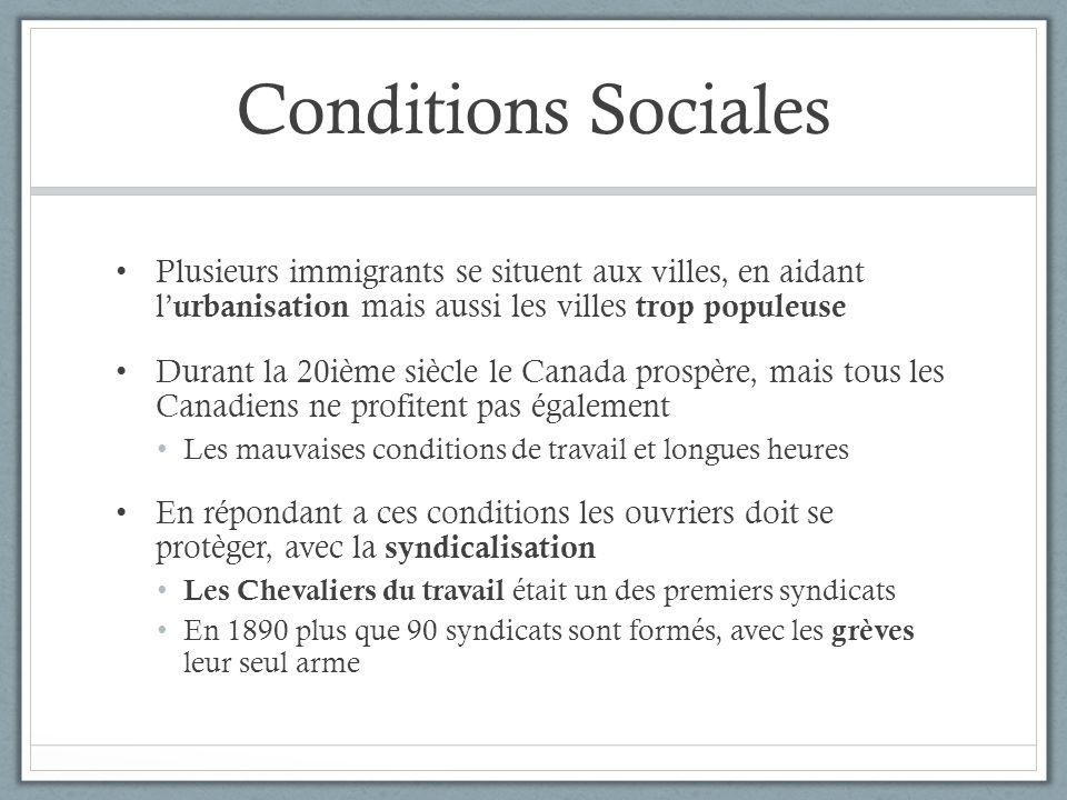 Conditions Sociales Plusieurs immigrants se situent aux villes, en aidant l urbanisation mais aussi les villes trop populeuse Durant la 20ième siècle