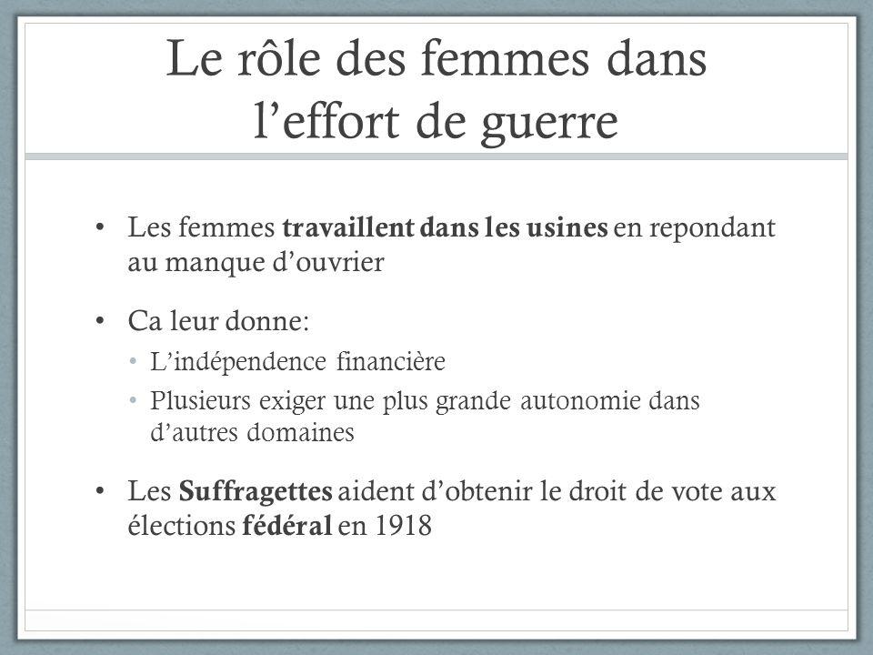 Le rôle des femmes dans leffort de guerre Les femmes travaillent dans les usines en repondant au manque douvrier Ca leur donne: Lindépendence financiè