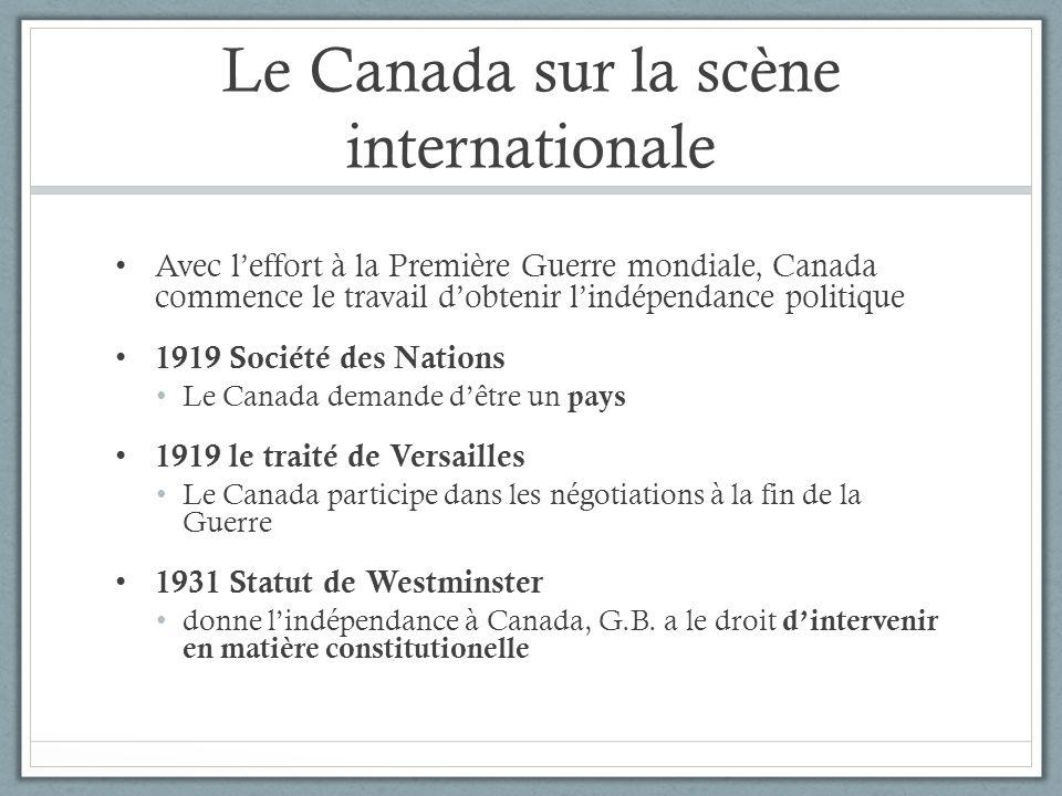 Le Canada sur la scène internationale Avec leffort à la Première Guerre mondiale, Canada commence le travail dobtenir lindépendance politique 1919 Soc