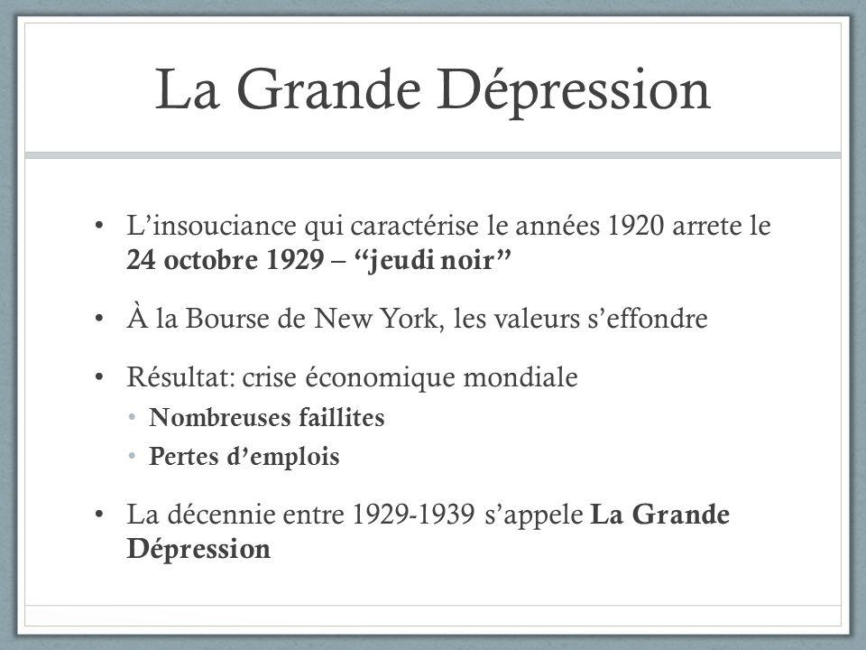 La Grande Dépression Linsouciance qui caractérise le années 1920 arrete le 24 octobre 1929 – jeudi noir À la Bourse de New York, les valeurs seffondre