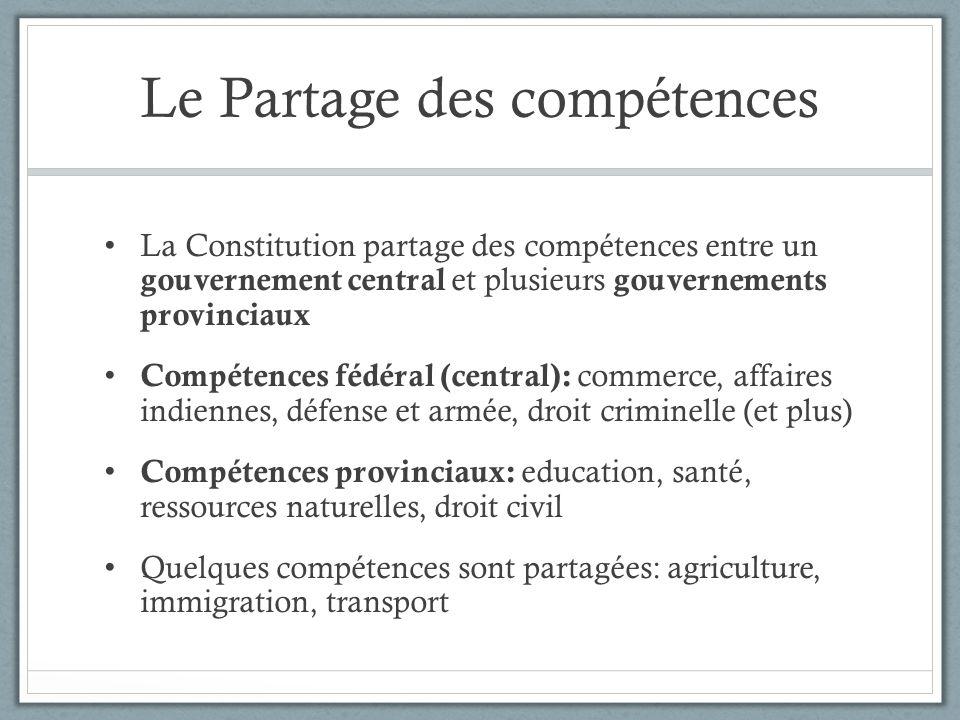 Le Partage des compétences La Constitution partage des compétences entre un gouvernement central et plusieurs gouvernements provinciaux Compétences fé
