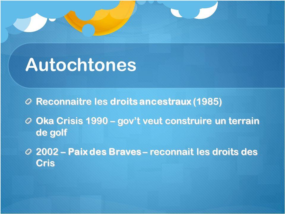Autochtones Reconnaitre les droits ancestraux (1985) Oka Crisis 1990 – govt veut construire un terrain de golf 2002 – Paix des Braves – reconnait les droits des Cris
