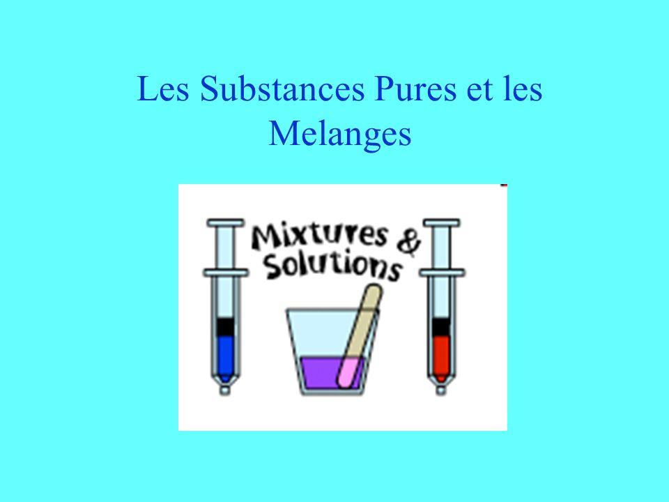 Les Substances Pures et les Melanges