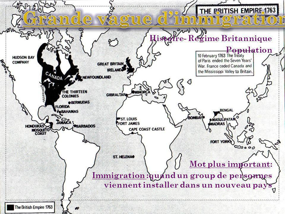 Histoire- Regime Britannique Population Mot plus important: Immigration :quand un group de personnes viennent installer dans un nouveau pays