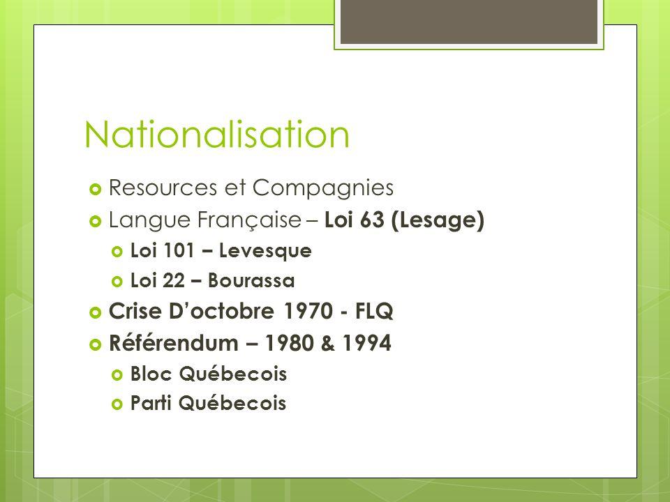 Nationalisation Resources et Compagnies Langue Française – Loi 63 (Lesage) Loi 101 – Levesque Loi 22 – Bourassa Crise Doctobre 1970 - FLQ Référendum –