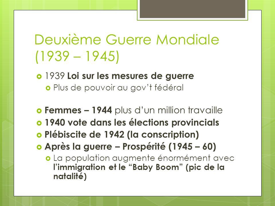 Deuxième Guerre Mondiale (1939 – 1945) 1939 Loi sur les mesures de guerre Plus de pouvoir au govt fédéral Femmes – 1944 plus dun million travaille 194