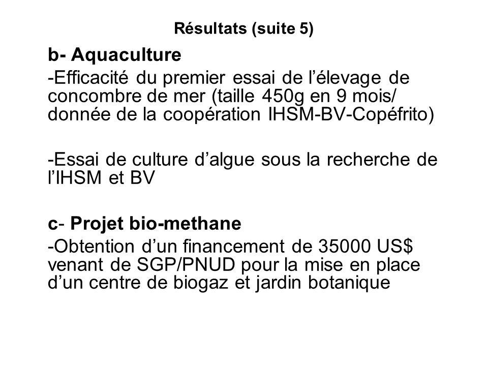 Résultats (suite 5) b- Aquaculture -Efficacité du premier essai de lélevage de concombre de mer (taille 450g en 9 mois/ donnée de la coopération IHSM-