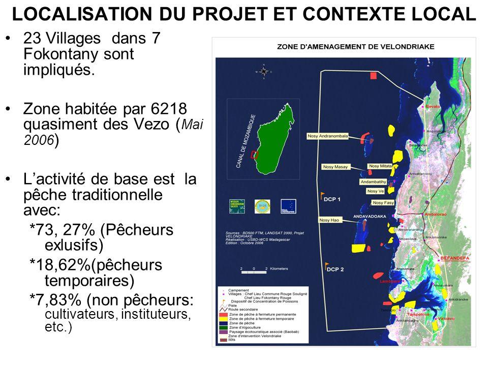 LOCALISATION DU PROJET ET CONTEXTE LOCAL 23 Villages dans 7 Fokontany sont impliqués. Zone habitée par 6218 quasiment des Vezo ( Mai 2006 ) Lactivité