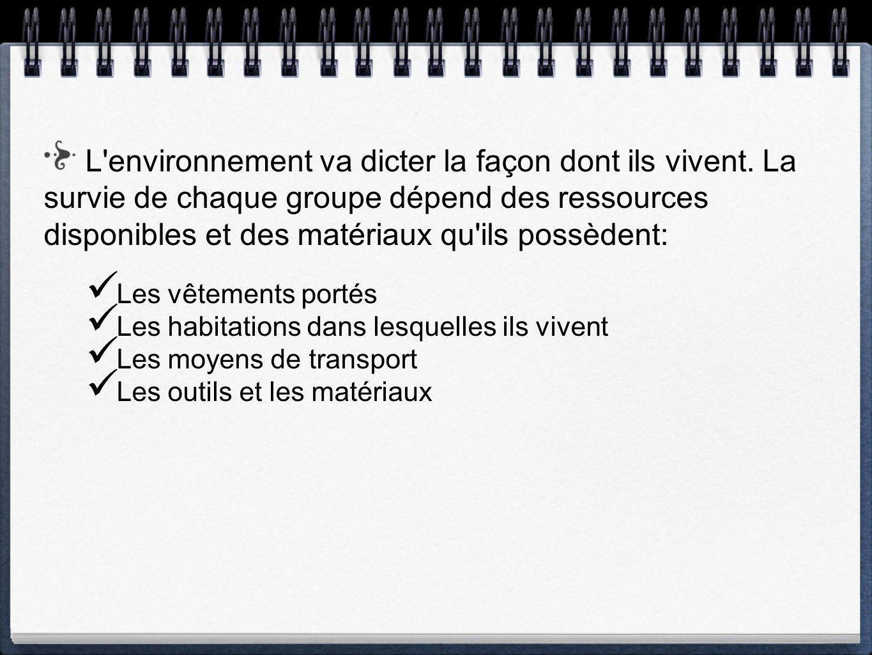 L'environnement va dicter la façon dont ils vivent. La survie de chaque groupe dépend des ressources disponibles et des matériaux qu'ils possèdent: Le