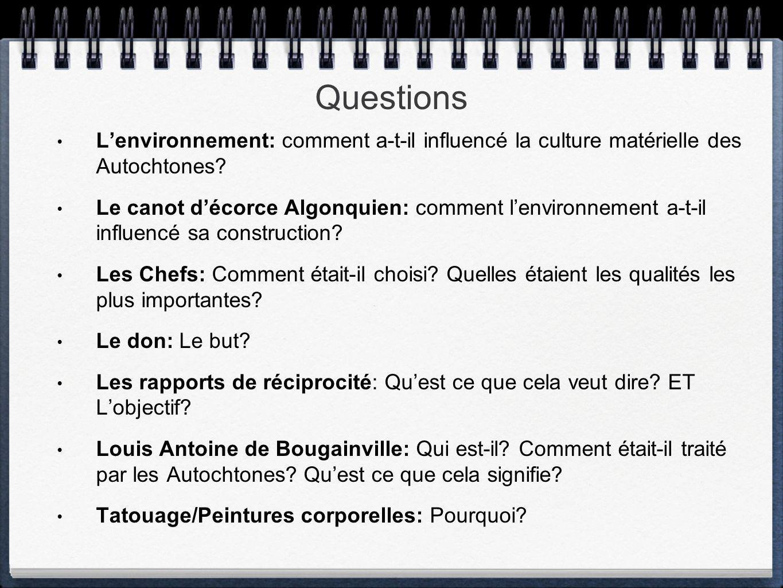 Questions Lenvironnement: comment a-t-il influencé la culture matérielle des Autochtones? Le canot décorce Algonquien: comment lenvironnement a-t-il i