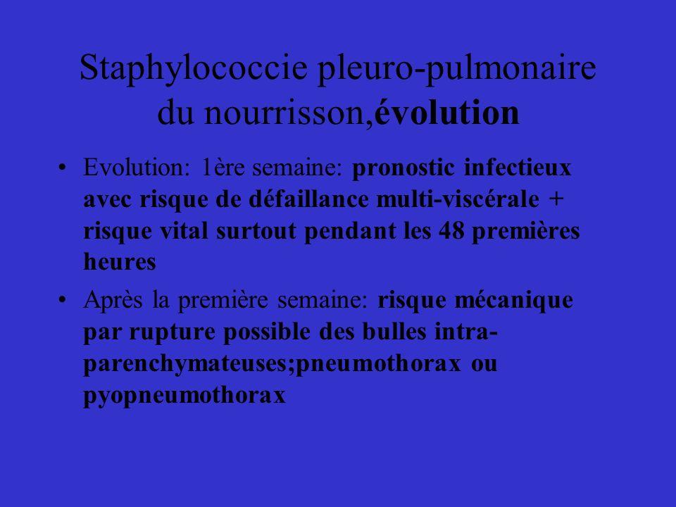 Staphylococcie pleuro-pulmonaire du nourrisson,évolution Evolution: 1ère semaine: pronostic infectieux avec risque de défaillance multi-viscérale + ri
