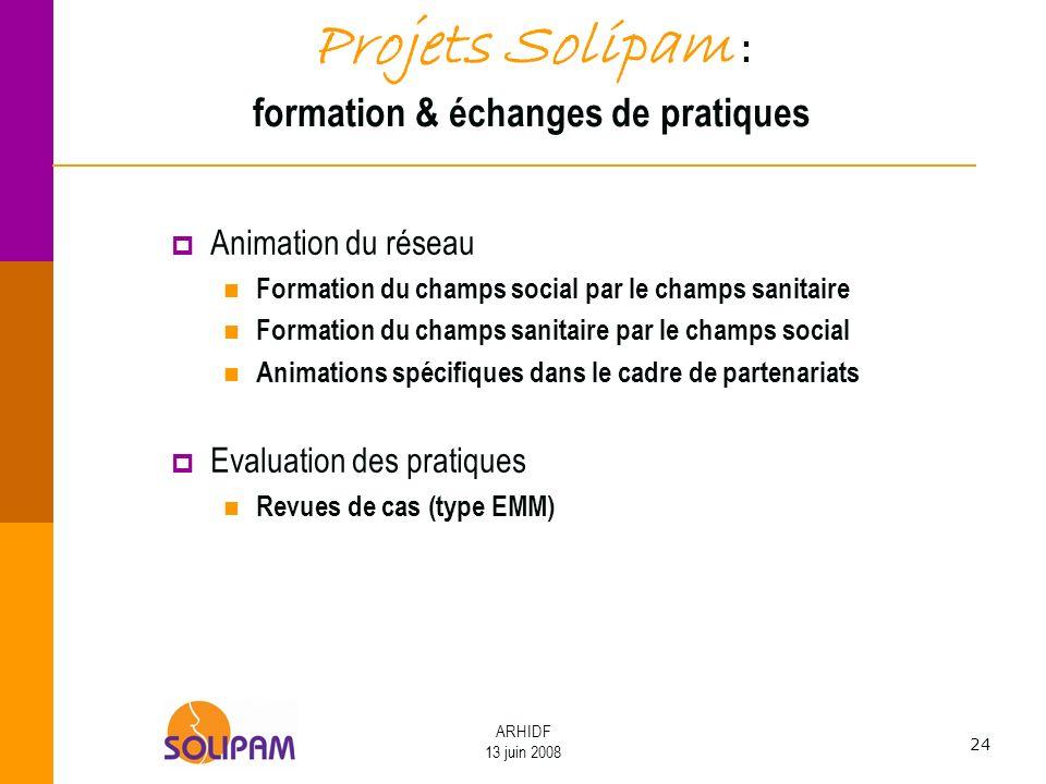 24 ARHIDF 13 juin 2008 Projets Solipam : formation & échanges de pratiques Animation du réseau Formation du champs social par le champs sanitaire Form