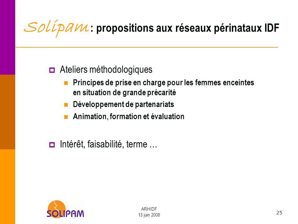 25 ARHIDF 13 juin 2008 Solipam : propositions aux réseaux périnataux IDF Ateliers méthodologiques Principes de prise en charge pour les femmes enceint