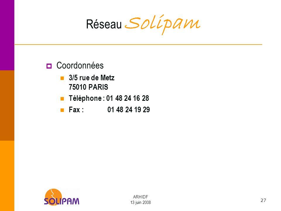 27 ARHIDF 13 juin 2008 Réseau Solipam Coordonnées 3/5 rue de Metz 75010 PARIS Téléphone : 01 48 24 16 28 Fax : 01 48 24 19 29