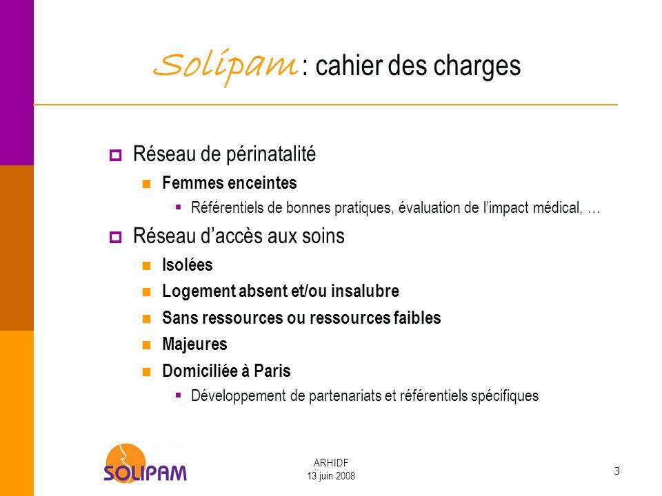 3 ARHIDF 13 juin 2008 Solipam : cahier des charges Réseau de périnatalité Femmes enceintes Référentiels de bonnes pratiques, évaluation de limpact méd