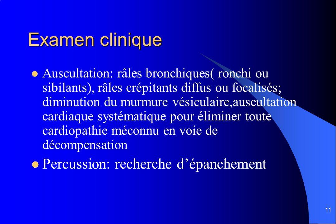 11 Examen clinique Auscultation: râles bronchiques( ronchi ou sibilants), râles crépitants diffus ou focalisés; diminution du murmure vésiculaire,ausc