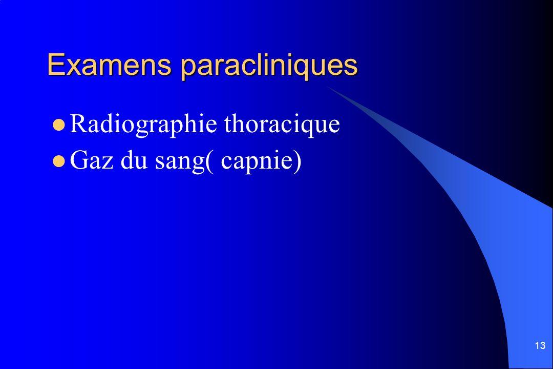 13 Examens paracliniques Radiographie thoracique Gaz du sang( capnie)