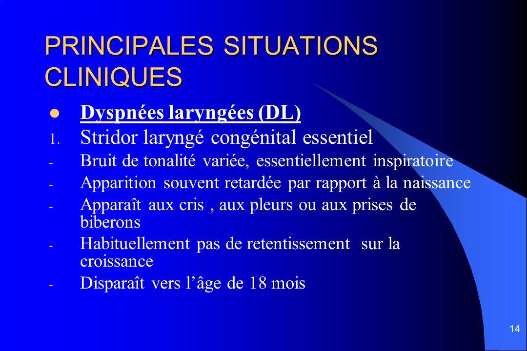 14 PRINCIPALES SITUATIONS CLINIQUES Dyspnées laryngées (DL) 1. Stridor laryngé congénital essentiel - Bruit de tonalité variée, essentiellement inspir