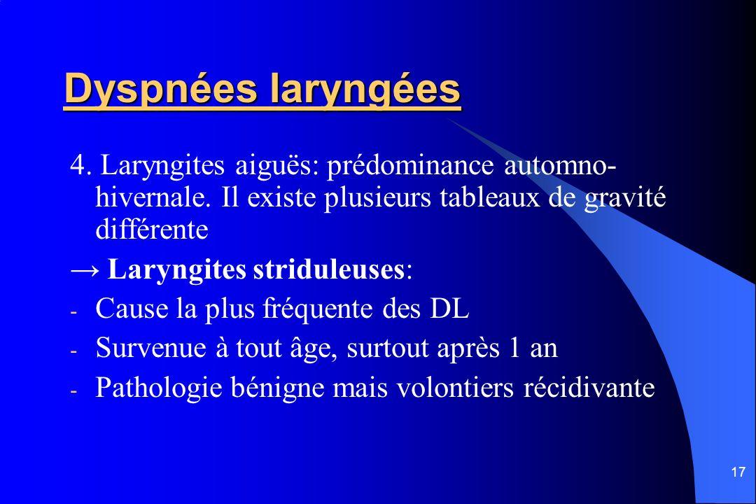 17 Dyspnées laryngées 4. Laryngites aiguës: prédominance automno- hivernale. Il existe plusieurs tableaux de gravité différente Laryngites striduleuse
