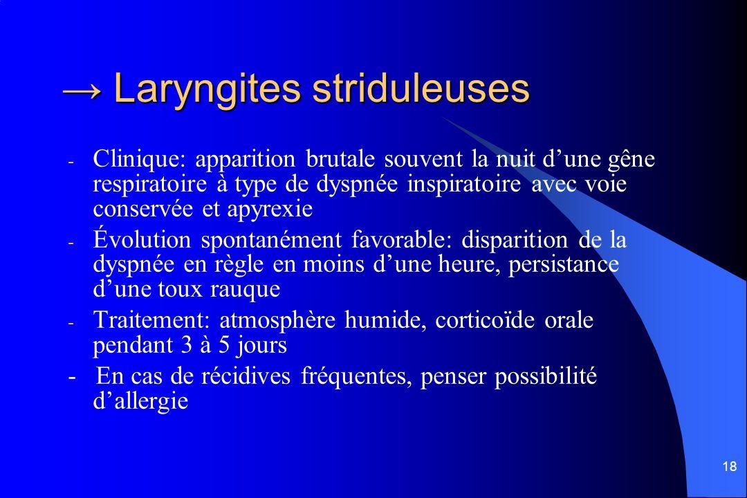 18 Laryngites striduleuses Laryngites striduleuses - Clinique: apparition brutale souvent la nuit dune gêne respiratoire à type de dyspnée inspiratoir