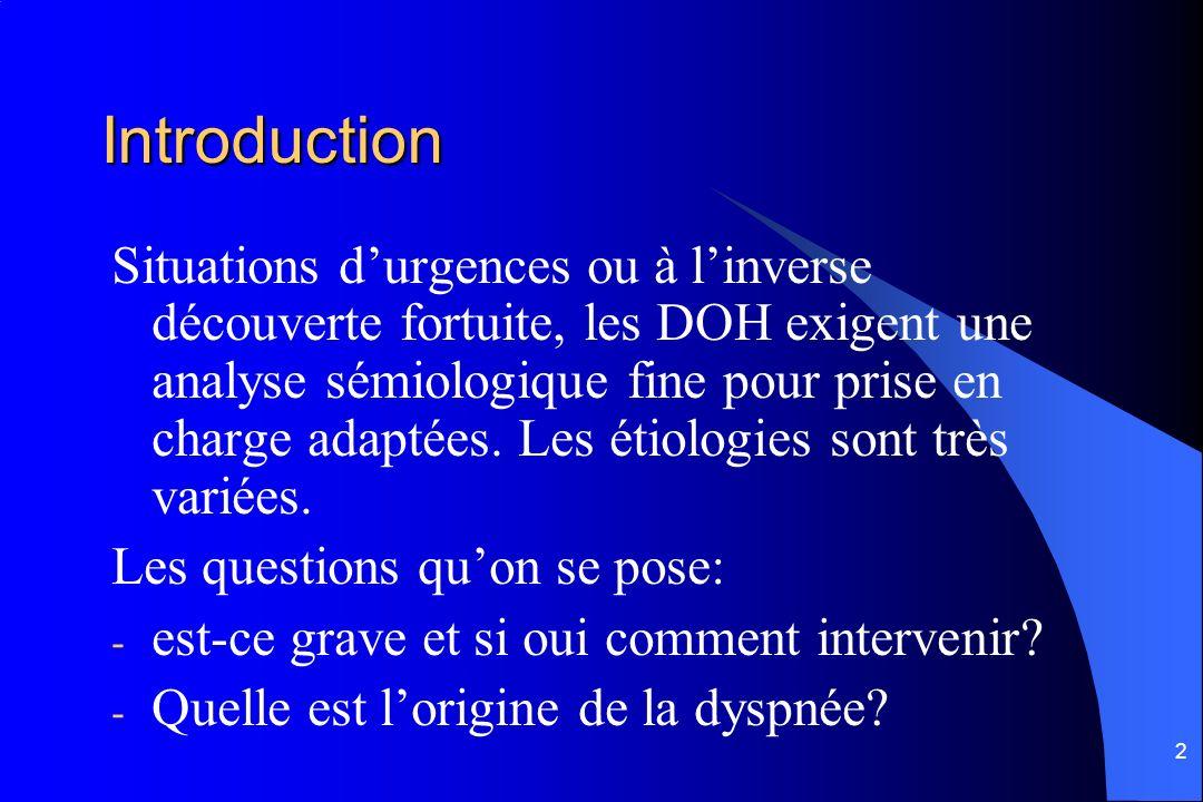 2 Introduction Situations durgences ou à linverse découverte fortuite, les DOH exigent une analyse sémiologique fine pour prise en charge adaptées. Le