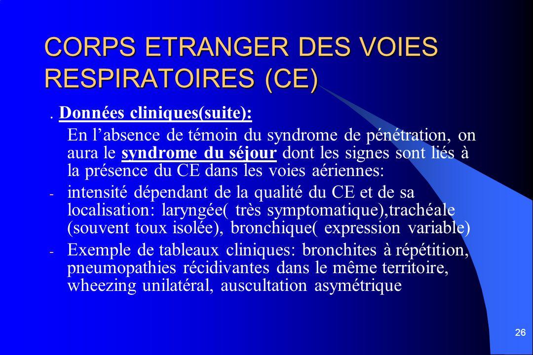 26 CORPS ETRANGER DES VOIES RESPIRATOIRES (CE). Données cliniques(suite): En labsence de témoin du syndrome de pénétration, on aura le syndrome du séj