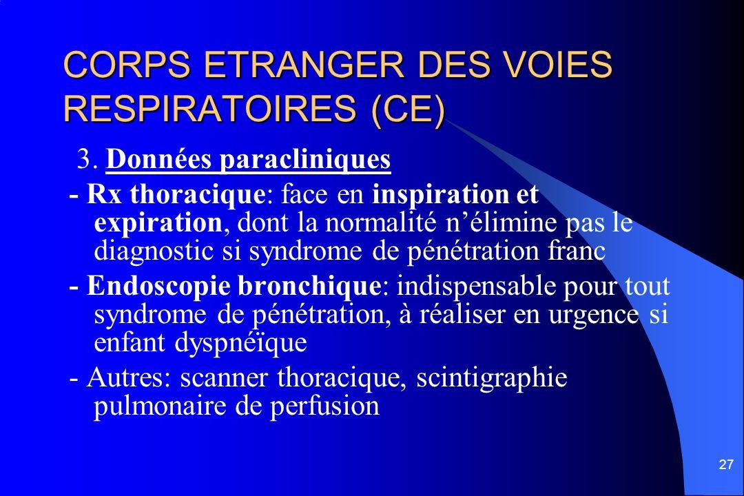 27 CORPS ETRANGER DES VOIES RESPIRATOIRES (CE) 3. Données paracliniques - Rx thoracique: face en inspiration et expiration, dont la normalité nélimine