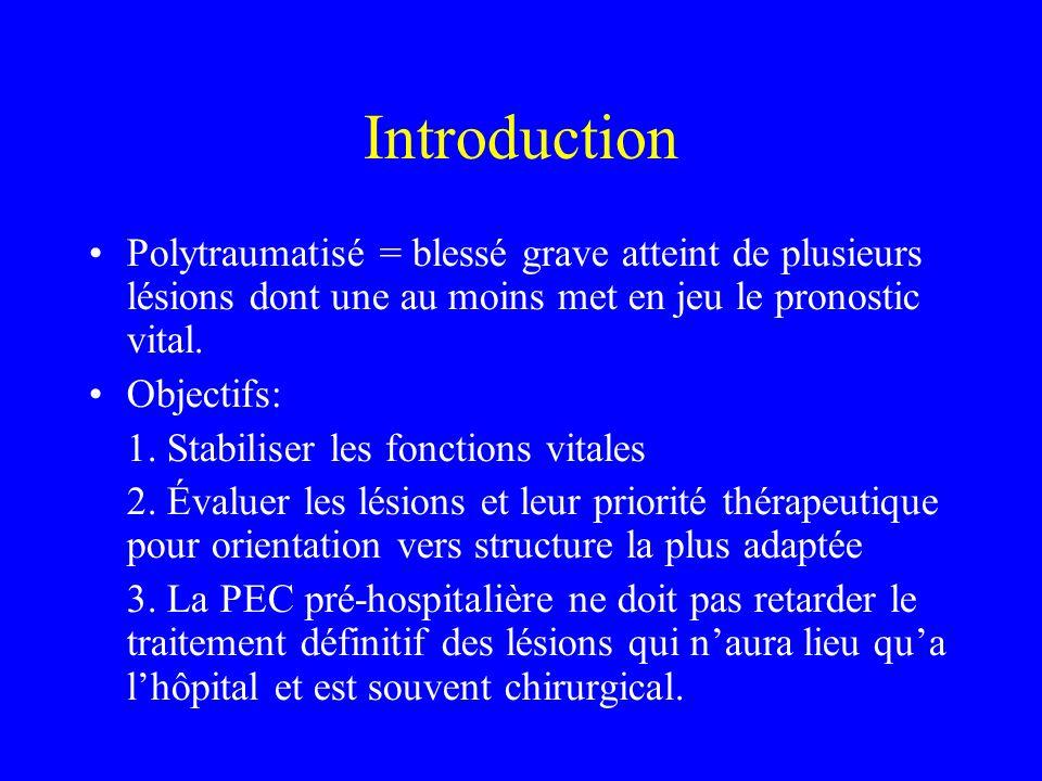 Détresse circulatoire Objectifs thérapeutiques: - Lésion hémorragique ou traumatisme pénétrant: PAM > ou = 80 mmHg - TC + choc hémorragique: PAM > 90 ou PAS> 120 mmHg afin déviter lischémie cérébrale et donc une agression cérébrale secondaire dorigine systémique (ACSOS)