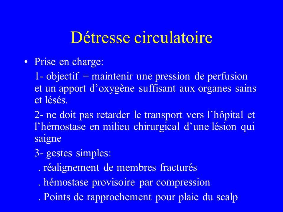 Détresse circulatoire Prise en charge: 1- objectif = maintenir une pression de perfusion et un apport doxygène suffisant aux organes sains et lésés.