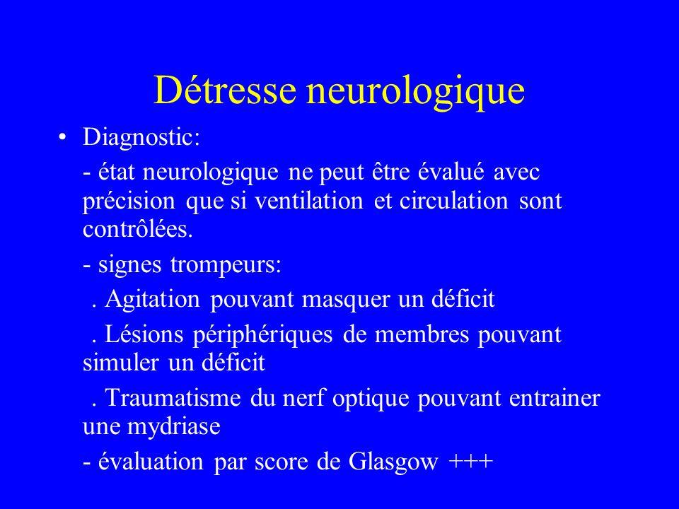 Détresse neurologique Diagnostic: - état neurologique ne peut être évalué avec précision que si ventilation et circulation sont contrôlées.