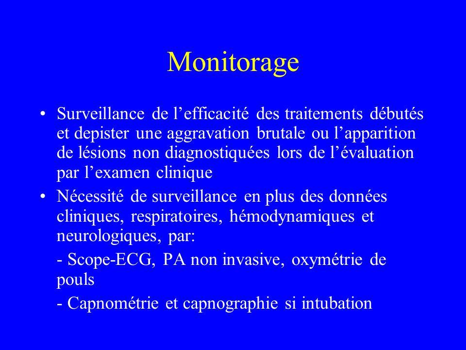 Monitorage Surveillance de lefficacité des traitements débutés et depister une aggravation brutale ou lapparition de lésions non diagnostiquées lors de lévaluation par lexamen clinique Nécessité de surveillance en plus des données cliniques, respiratoires, hémodynamiques et neurologiques, par: - Scope-ECG, PA non invasive, oxymétrie de pouls - Capnométrie et capnographie si intubation